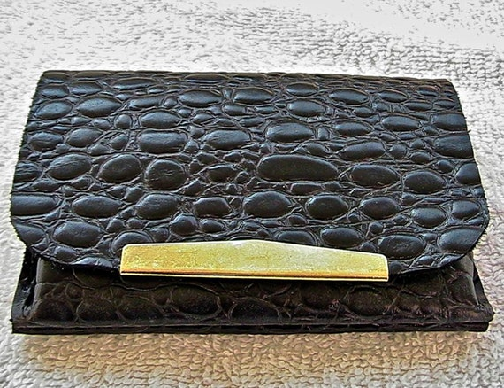 Small black croc embossed leather coin purse/wallet.
