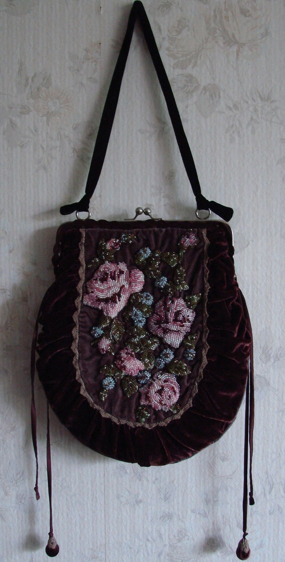 Purple vintage look silk velvet bag with bead embroidered roses, free shipping