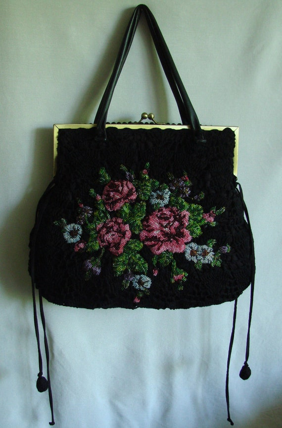 Black vintage look silk velvet bag with bead embroidered roses, free shipping