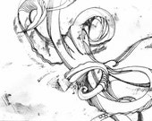 """Octopus Drawing - Leaking Octopus  -  Fine Art Giclee Print 5/50 of 6""""x4"""" Black and White Drawing"""