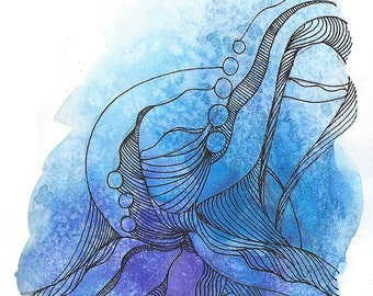 """Octopus Painting - Cast Offtopus  - Fine Art Giclee Print 10/50 of 4""""x6"""" Blue and Purple Watercolor Painting"""