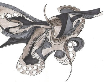 """Octopus Drawing - No Accelerometer for This Octopus - Fine Art Giclee Print 7/50 of 6""""x4"""" Drawing - Squid Ink"""
