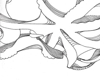 """Octopus Drawing - Day 1 Octopus  - Fine Art Giclee Print of 4""""x6"""" Black and White Linework Drawing"""