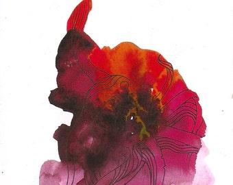 "Octopus Painting - Novus Octopus Seclorum - Fine Art Giclee Print 7/50 of Vivid 4""x6"" Painting - Squid Ink"