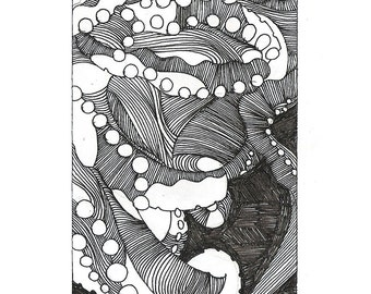 """Octopus Drawing - Together Alonetopus  - Fine Art Giclee Print of 4""""x6"""" Black and White Drawing"""