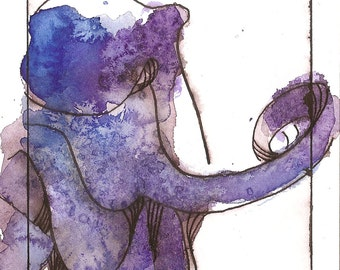 """Octopus Painting - Whispering Octopus  - Fine Art Giclee Print 5/50 of 4""""x6"""" Blue and Purple Watercolor"""