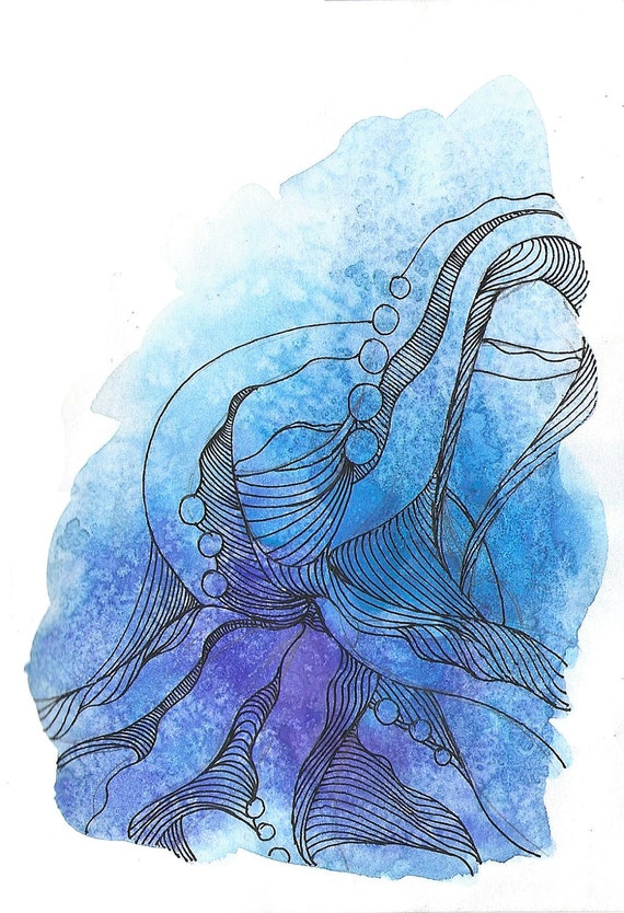 "Octopus Painting - Cast Offtopus  - Fine Art Giclee Print 9/50 of 4""x6"" Blue and Purple Watercolor Painting"