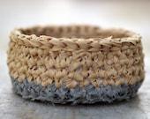 Crocheted Basket - Sand & Grey