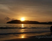 Sunset Beach,  silhouette, romance, 8x12 photo, Golden Reflection, wall decor, ocean, nautical, Langkawi, Malaysia, Island vacation