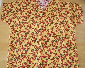 Nursing or Medical Red Hot Chili Peppers on Bright Yellow Material Scrub Top