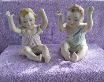 Antique Pair of German  Piano Babies Boy & Girl