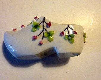Porcelain vintage Dutch  style shoe with raised roses