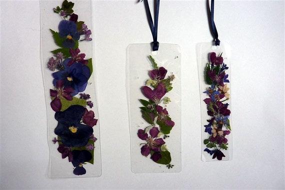 Pressed flower bookmarks-laminated navy ribbon