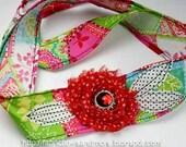 Red, Black, White,Green and Blues Shabby J Headwrap Headband