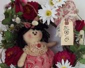 Primitive Raggedy Ann Doll Wreath
