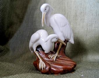 Vintage WHITE CRANES Ceramic Figurine Made in Japan Post War