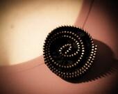 Handmade zipper brooch, Pin in golden metal zipper