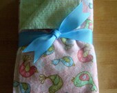 "Peach, Green Burp Cloths ""Sweet Tweets"""