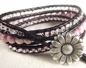 Pink and Black Triple Leather Wrap Bracelet - neferknots