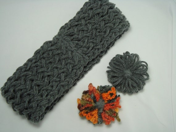 Loom Knitted Headband with Removable Flower Detail