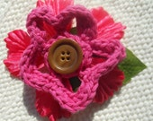 Pink Crocheted Flower with Leaf and Brown Button Barrette - Hair Clip - Hair Barrette - Summer - Spring - Easter - Crochet Flower