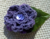 Crocheted Purple Flower with Purple Button and Leaf Barrette - crochet flower - easter - spring - summer - hair clip - hair barrette