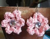 Pink Flower Earrings - Spring Earrings - Flower Earrings - Easter Earrings - crochet earrings