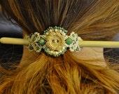 Wooden Flower Hair Brooch