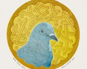 Original Color Etching - Pigeon Print - Hand pulled Print -  Bird Etching -'And Fries' by William White - FREE SHIPPING