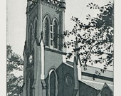 Original Etching  - Christ Church Lisburn Northern Ireland - Hand Pulled Etching with Aquatint by William White - FREE SHIPPING