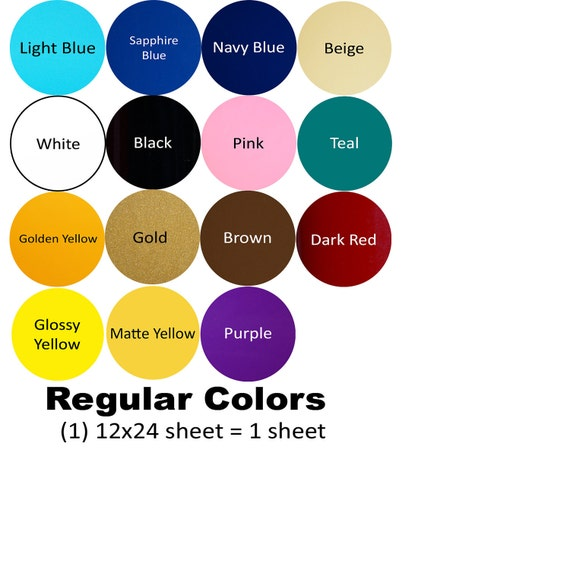 12 x 24 Craft Vinyl, 10 sheets, for Cricut or Silhouette cutters