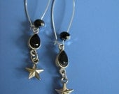 Long silver earrings with Swarovski and star/bambi/deer