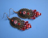 Copper earring with Swarovski and beads