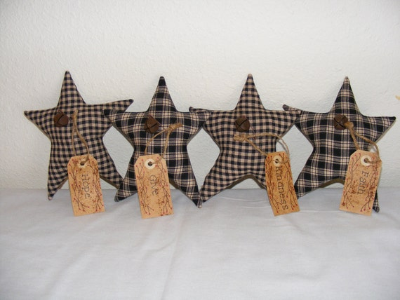 Large Homespun Stars - Bowl Fillers - Ornaments - Home Decor -Made to Order