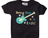 Boutique Boys Rocker Themed Guitar Birthday shirt. Sizes 6M to 14 Youth Long Sleeves or Short
