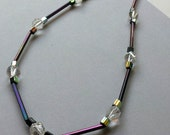 Iridescent and Crystal Necklace