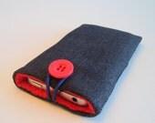 iPhone 5 sleeve, iPhone 6 or 6 plus case, iPhone cozy, padded iPhone cover, cell phone cover, iPod cover in grey/black denim