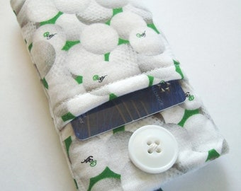 iPhone cover, iPhone case, iPhone sleeve, iPhone cozy, iPod cover, iPhone pouch in a golf ball print fabric