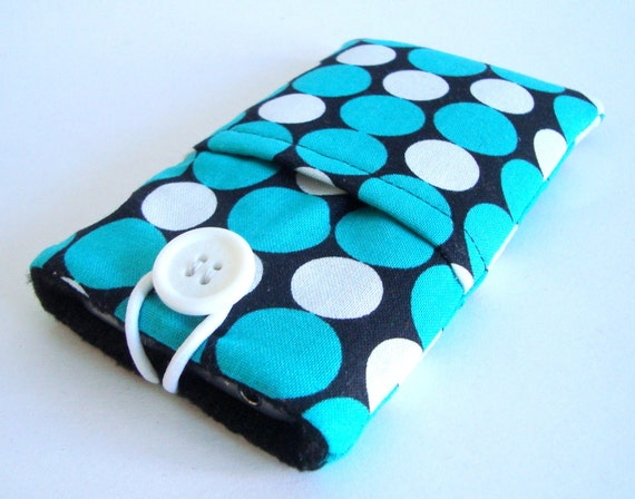 iPhone sleeve, iPhone case, iPhone cozy, iPhone cover, cell phone cover, phone pouch, iPod cover in designer white, black and teal fabric