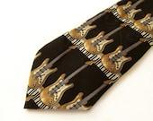 Guitar lovers necktie musical themed novelty silk tie black gold grey white necktie vintage 1970s necktie  mens silk necktie novelty necktie