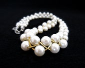 Vintage faux pearl necklace with gold criss cross 17 inch choker necklace wedding bridal necklace