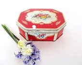 Red white gold tin 1950s cherry red tin Shabby Chic antique biscuit tin hinged lid mid century retro tea tin flower bouquet octagonal tin