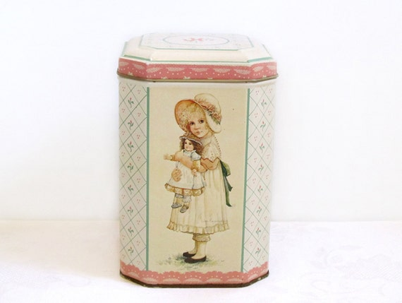 Pretty tin with girl and doll Mandy by Jan Hagara Shabby Chic pink tin octagonal shaped metal container vintage tea tin Victorian lace dress
