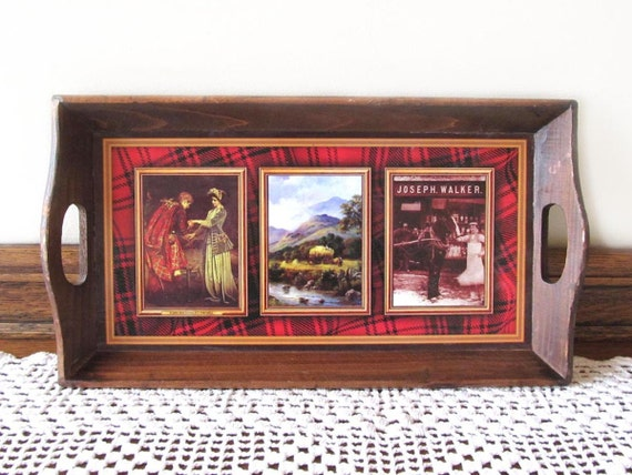 RESERVED Wooden tray from Walkers Shortbread Scotland small tea tray with vintage photos souvenir of Walkers Shortbread Scottish tray
