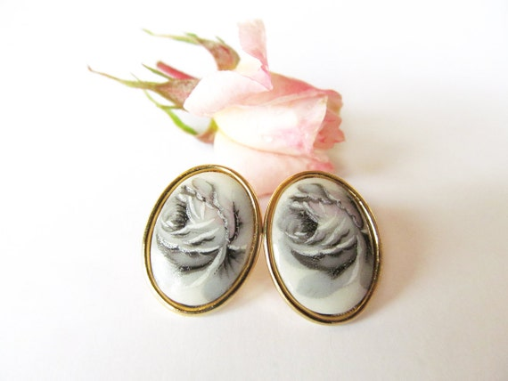 Lovely rose earrings black and white oval earrings stud back earrings black and white rose with gold oval setting Shabby Chic Victorian