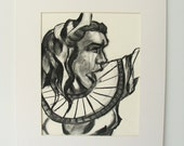 Artmesia - Original Charcoal Drawing on Paper 16x20 Mated Ready to Frame