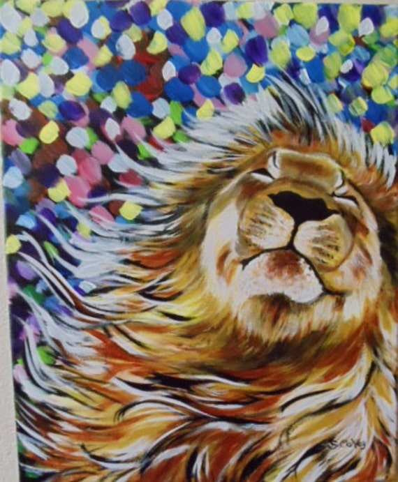 Items similar to African Winds Lion Original Acrylic ...
