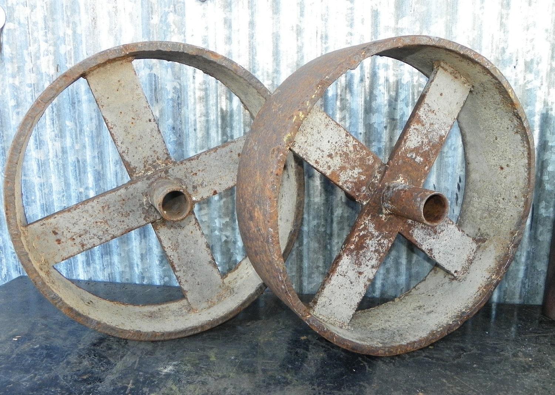 Vintage Steel Industrial Shop Cart Wheels Pair