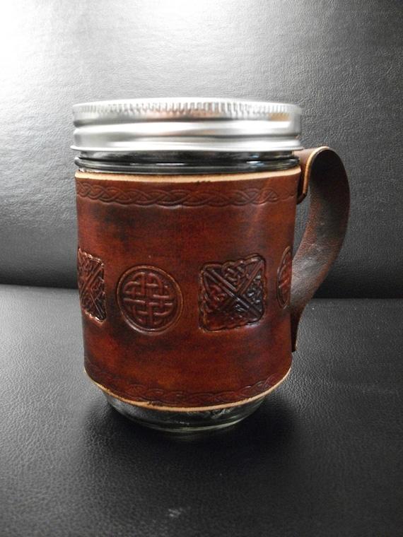 Celtic Leather Mason Jar sleeve with Handle