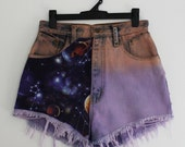 LIMITED Vintage Purple Orange Ombre Dyed High Waisted Galaxy & Gold Studded Cut Off Shorts, Space Odyssey Collection, XXS/XS